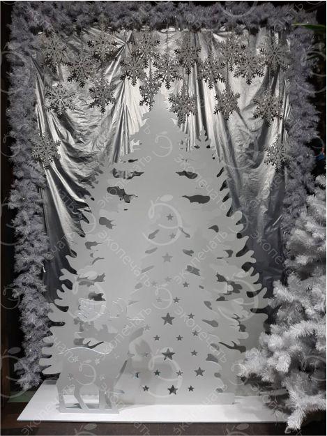 новогодняя фотозона елки и олень